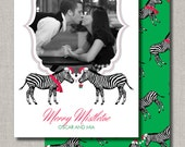 Photo Holiday Card - Set of 50 - Mistletoe Kisses Zebra Christmas - by Abigail Christine Design