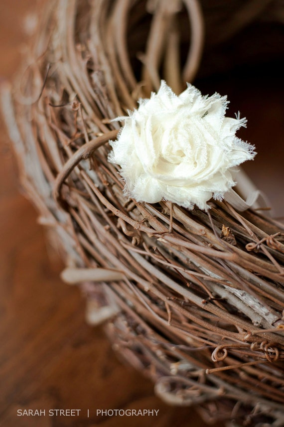 Cream Chiffon Headband Rosette Flower