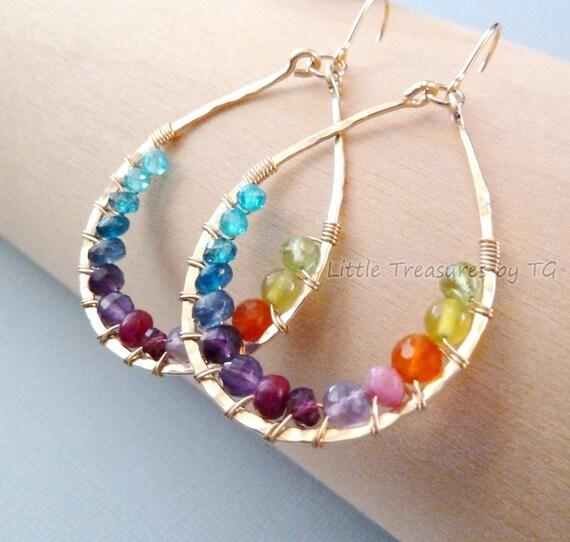 Rainbow earrings Handmade Gold Full Spectrum colorful Fashion Trendy. Gemstone jewelry. Chandelier Earrings