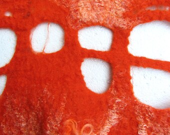 handmade felted with silk wallhanging 'Sun'