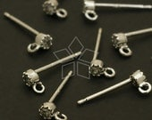SI-509-OR / 4 Pcs - Mini Bezelled CZ Earring Findings, Silver Plated, with .925 Sterling Silver Post / 2.5mm