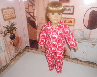 """Red owls flannel pajamas  fit 18"""" American girl doll"""