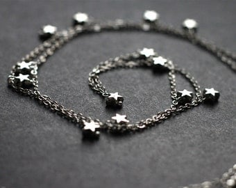 Wishing Upon a Star Necklace, Boho Super Long Layering Tiny Stars Versatile Wrapped Bracelet Night Sky Galaxy Double Triple Layer
