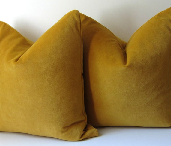 Set Of Two Mustard Yellow Pillows Decorative Pillow Covers