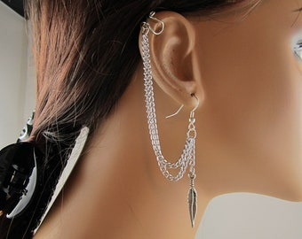 Handmade Upper Cartilage Earring Earcuff Double Chain Antiqued Silver Feather Gift For Her