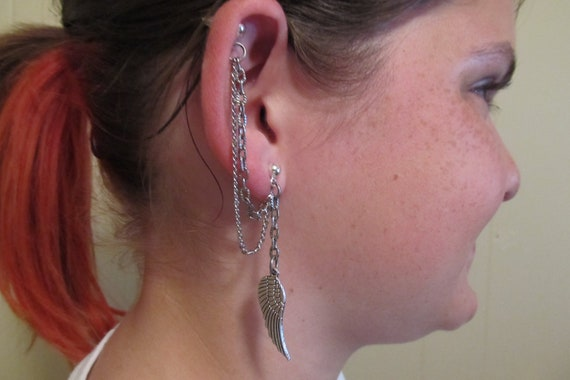 Double Chain Cartilage Earrings Wing Charms
