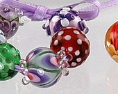 Tiny Purple and Green Detailed Floral Artisan Made Lampwork Beads