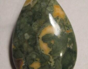 Rain forest Jasper  bead...........  43 x 26 x 6 mm ......    a1677