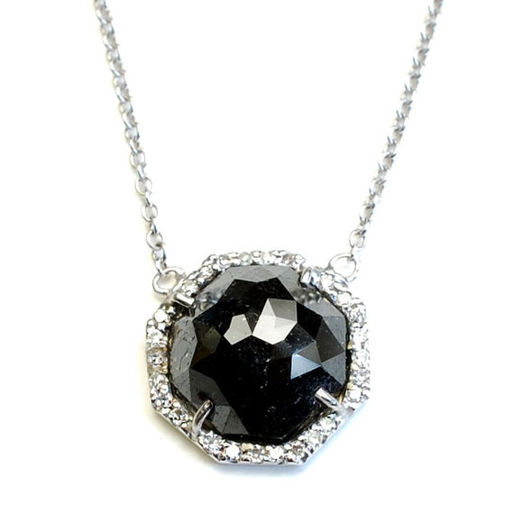 Diamond Necklace, Rose Cut Diamond, Black Diamond Necklace, Rose Cut Diamond Necklace, Rose Cut Black Diamond Gold Necklace, OOAK, Nixin