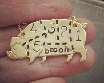 butchers diagram pig necklace - cuts of pork - hand stamped bacon jewelry