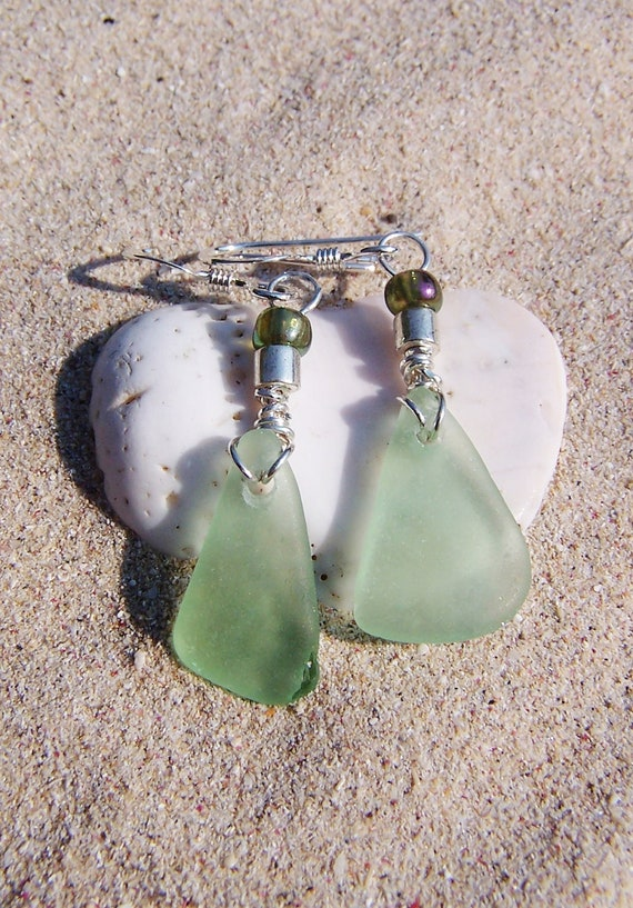 Sea Glass Earrings in Pale Sea Foam Green with Glass Bead Accents