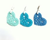 Crochet blue hearts - blue Wedding decorations - wedding favors - lace hearts applique - party embellishments - set of 9