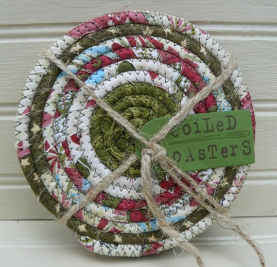 Christmas Market Fabric Coiled Coasters... Set of Four