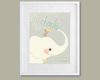 8X10 Personalized children's art featuring an elephant and mouse and your child's name and birth stats