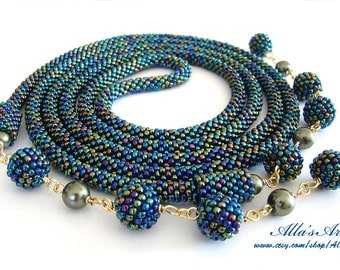 Crocheted seed bead Lariat
