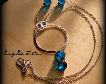 Czech glass and Swarovski jeweltone and silver necklace