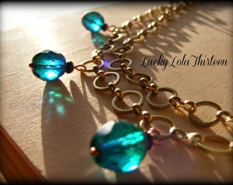 golden raw brass and czech glass bead double chain necklace