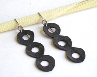 Upcycled Abstract Earrings -  upcycled bicycle tube jewelry