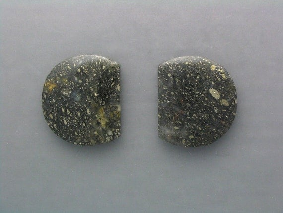 Pyrite in Agate Cabochon Pair