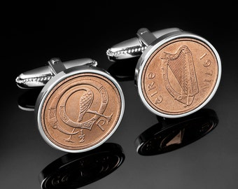 Lucky Irish Cufflinks  - Celtic bird- Ireland 1/2p Irish Mint coin - Very rare gift - Presentation box included - 100% satisfaction