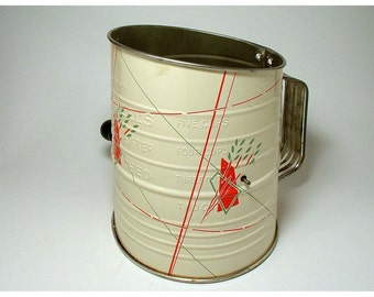 Vintage Bromwell Flour Sifter - Five Cup Green Wheat Pattern