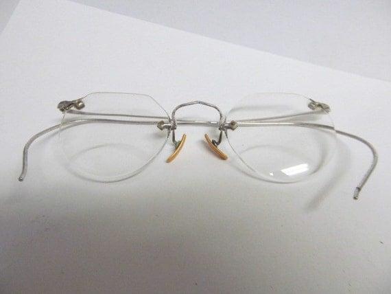 vintage eye glasses pair opticals rimless glasses wire frames