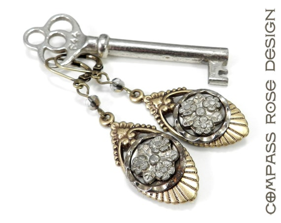 Antique Victorian Button Earrings Antique Button Earrings Silver Gold Mirror Victorian Button Edwardian Drop Earring by Compass Rose Design