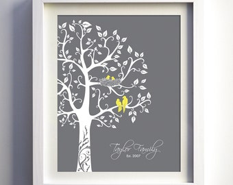 Wedding anniversary gift, personalized three would love birds, paper anniversary, gray yellow, baby shower gift, love bird themed wedding