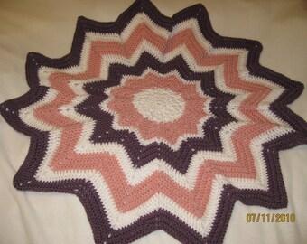 Handmade Crocheted Baby Blanket Grape Pink and White