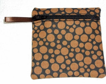 Handmade - Black with brown dots - Coin pouch  Fabric Gift Card Holder - FREE shipping