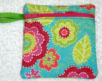 Handmade - Colorful retro floral  - Coin Pouch  Fabric Gift Card Holder  - FREE shipping