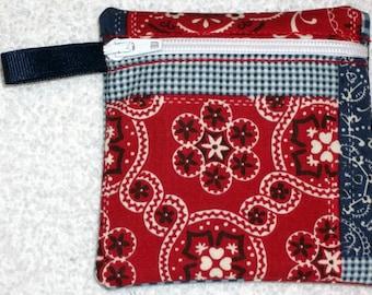 Handmade - Bandana Patchwork fabric zippered pouch - Fabric Gift Card Holder - free shipping