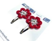 Crochet Flower Hairclips Red & Silver Flower Nature Accessories