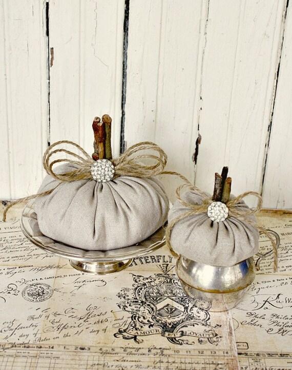 Rustic Linen Pumpkins-Elegant