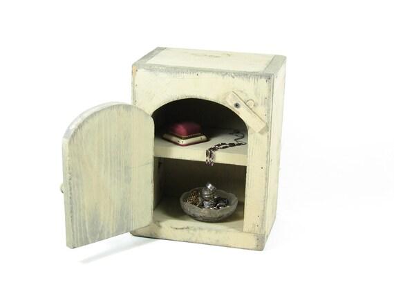 Vintage Wood Display Cabinet Wall Shelf Ivory Cream