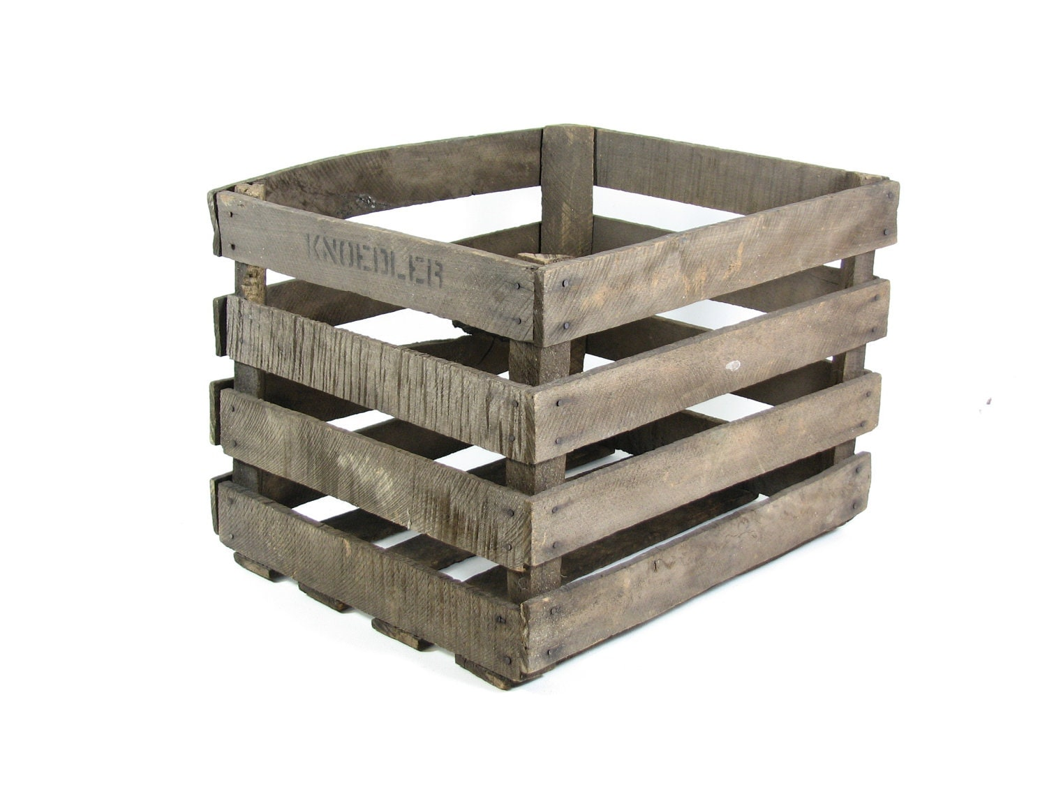 Vintage wood crate apple crate fruit crate stackable storage for Wooden fruit crates