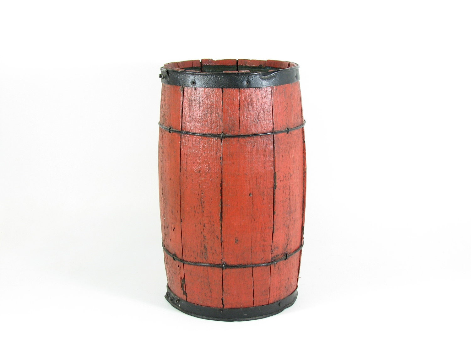 Vintage Wood Barrel Wooden Nail Keg Table Base By