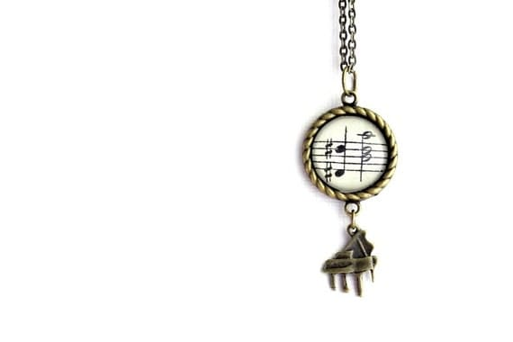 Piano sheet music charm vintage style necklace.  Gift for musician, music lover, pianist