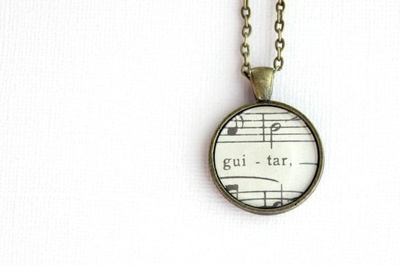 SALE- Black friday cyber mondayGuitar necklace - vintage sheet music necklace.  Gift for musician, guitar player, music lover