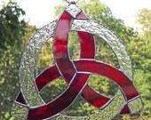 Celtic Knot Stained Glass Suncatcher Trefoil Red