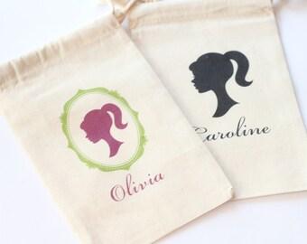 BARBIE SILHOUETTE - CAMEO Favor Bags - Set of 10 - choose Design - Size - colors