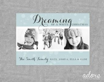 Dreaming of a white Christmas - Aqua & White Christmas Holiday Photo Card