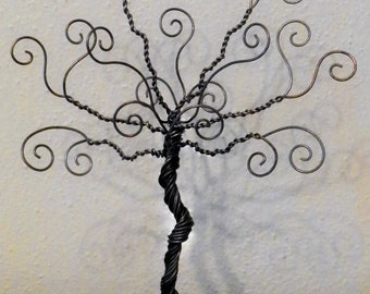 Jewelry tree, wire stand, earring hanger, jewelry organizer, photo display, card holder, tree of life, 11 inches.