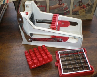 """French Fry Machine """"The French Friar Perfect French Fry Slicer""""- Vintage Lever Type Potato Cutter With 2 Size Option Slice Grids"""
