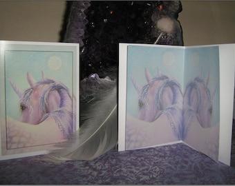 """Art Greetings Card """"Amethyst"""" Unicorn. Fantasy Card"""