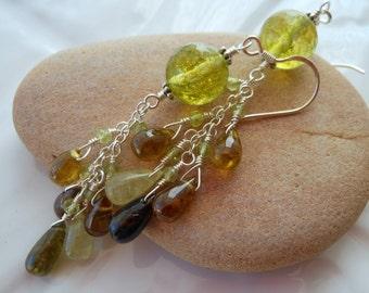 ON SALE Grossular Garnet Peridot Sterling Silver Wire Wrapped Chain Earrings