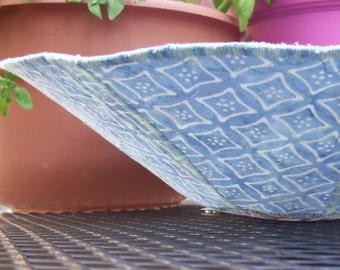 Decorative blue fabric bowl batik and tile print
