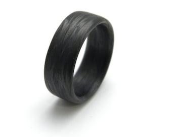 Custom Carbon Fiber Ring in 'Damascus' Grain, 9mm YOU CHOOSE SIZE