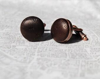 Chocolate Brown textured Leather Cufflinks