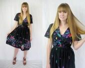SALE - Vintage Black polynesian wrap dress